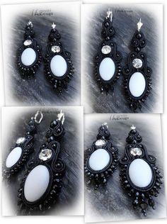 Black soutache earring with swarovski rivoli leather back 8 cm long Soutache Earrings, Pearl Earrings, Drop Earrings, Homemade Jewellery, Necklaces, Bracelets, Ring Necklace, Brooches, Swarovski