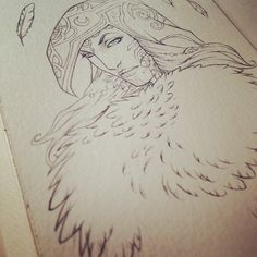 srj_art's photo on Instagram - Goddess of Feathers and Flight, process, pencil drawing, fantasy, artwork