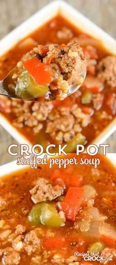 This Crock Pot Stuffed Pepper Soup is a reader favorite and one of our most popular slow cooker recipes! #slowcooker
