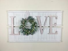 All Season Shutter Wall Decor with Love Sign - The Effective Pictures We Offer You About shutters repurposed rustic A quality picture can tell yo - Decor, Creative Wall Decor, Shutter Decor, Shutter Wall, Wooden Wall Decor, Shutter Wall Decor, Flower Wall Decor, Kitchen Wall Decor, Farmhouse Wall Decor