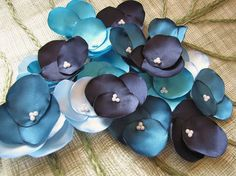 Hydrangea Blossoms- Fabric flowers, handmade satin sew on flower appliques (20 pcs)- BLUE LAGOON (Baby Blue- Turquoise- Teal - Navy)