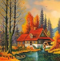 belles images nature et jardins – Page 2 Landscape Art, Landscape Paintings, Belle Image Nature, Scenery Paintings, Thomas Kinkade, Cabins In The Woods, Beautiful Landscapes, Painting Inspiration, Amazing Art
