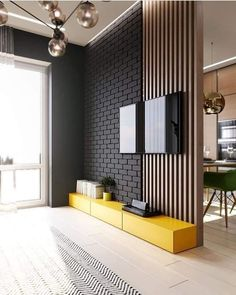 Living Room Partition Design, Room Partition Designs, Living Room Tv Unit Designs, Tv Wall Design, House Design, Bedroom Tv Unit Design, Partition Ideas, Wall Partition, Loft Design