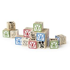My First Wooden Block Set – ABCs & 123s from Melissa & Doug featuring DISNEY CLASSICS