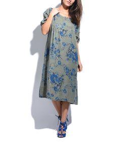 Look what I found on #zulily! Khaki Floral Pocket Linen Shift Dress #zulilyfinds