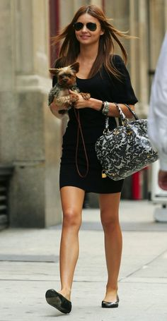 Miranda Kerr Street Style - Simple Black Dress