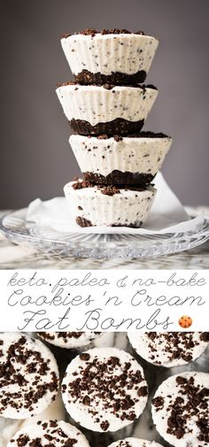 (No-Bake!) Gluten Free, Paleo & Keto Cookies 'N Cream Fat Bombs #keto #ketodessert #lowcarb #fatbombs #glutenfree #chocolate #dairyfree #healthyrecipes