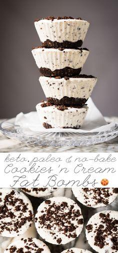 (No-Bake!) Gluten Free, Paleo & Keto Cookies 'N Cream Fat Bombs 🍪 #keto #ketodessert #lowcarb #fatbombs #glutenfree #chocolate #dairyfree #healthyrecipes