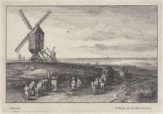 Landschap met vier windmolens, Wenceslaus Hollar, 1650