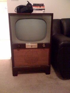 1950's TV. Our first tv was very similar to this one.  We've come a long way.