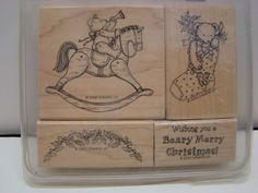 Stampin' Up BEARY MERRY CHRISTMAS Stamp Set of 4 Retired Rubber Stamp Set Bear Rocking Horse Stocking Swag Saying
