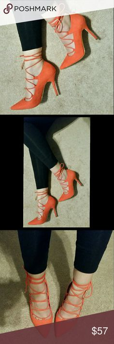 NIB Aldo, red-orange lace up pumps, size 6.5 These trendy pumps from Aldo are a must have! They come in a bold red-orange color and feature a lace up style that can tie behind the calf or to the side (just adjust the laces to your liking).  NIB. Aldo, size 6.5 Aldo Shoes Heels