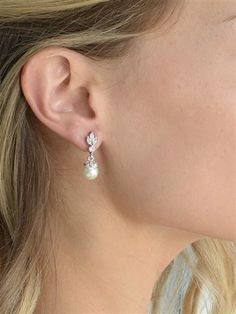Mariell Light Ivory Pearl Drop Vintage Wedding Earrings with Platinum Plated Cubic Zirconia Marquis Wedding Earrings Drop, Bridal Earrings, Wedding Jewelry, Vintage Wedding Earrings, Wedding Accessories, Vintage Bridal, Hair Accessories, Crystal Jewelry, Silver Jewelry