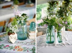 cute centerpiece tags. Also using handkerchiefs for table decoration is a great idea.