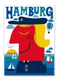blue hamburg poster by Human Empire with charming vintage touch