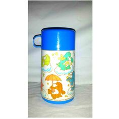 Vintage Blue Care Bear Aladdin Thermos, 1985, Care Bears, Vintage Care Bears, Insulated Hot Cold Thermos, Vintage Kids Thermos, Spout Lid by JunkYardBlonde on Etsy