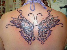 Upper Back Butterfly Tattoos Designs for Girls