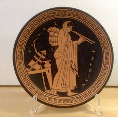 Greek pottery. Terracotta plate, replica from Louvre vase. Aulos player - pinned by pin4etsy.com