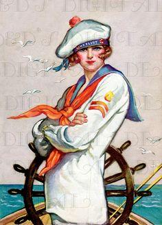 US Flirt. FLAPPER As Sailor.  Art Deco by DandDDigitalDelights