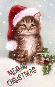 Vintage Christmas card - Craft For Teenagers Creative Cat Christmas Cards, Christmas Kitten, Christmas Scenes, Noel Christmas, Christmas Animals, Christmas Wishes, Xmas Cards, Christmas Greetings, Winter Christmas