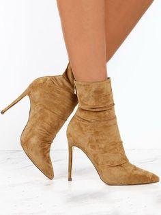 e4aa3c08857 Suede Thin Heeled Boots - Khaki