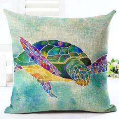 Sea Turtle Jellyfish Printed Cushion Cover