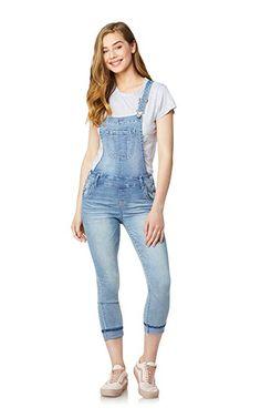 omniscient Women Ripped Denim Bib Overall Shorts Raw Hem Jeans