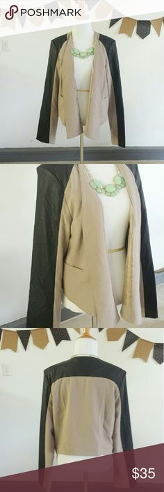 Tan & Black Colorblock Blazer Tan & Black Vegan Leather Colorblock Blazer. EUC (EXCELLENT USED CONDITION). JUNIORS Sizing  (Size LARGE). Vegan Leather Shoulders & Arms. >MEASUREMENTS  Length Bust Arm/Sleeve  Please Ask Questions Before Purchasing  ALL SALES ARE FINAL  NO TRADES NO PAYPAL NO HOLDS NO LOW BALL OFFERS Jackets & Coats Blazers