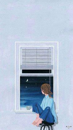 New wallpaper cute kawaii illustrations 54 Ideas Tumblr Wallpaper, Girl Wallpaper, Chibi Wallpaper, Striped Wallpaper, Tmblr Girl, Buch Design, Lonely Girl, Poster S, Anime Art Girl