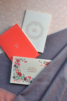 """Beautiful for wedding – Wrapping Paper """"Flora"""", Cotton Scarf """"The Peach Stripes"""", different Greeting Cards – all made in Germany by Haferkorn & Sauerbrey"""