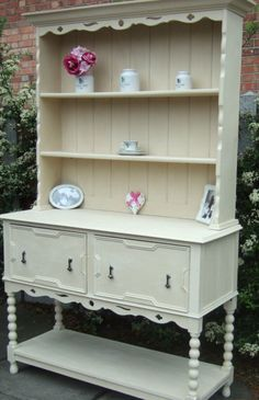 Solid Oak Welsh Dresser With Ornate Detail Handpainted In Annie Sloan Old Ocre Ebay