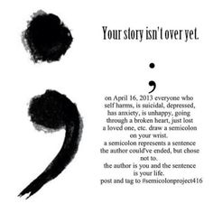 I have a #semicolon #tattoo on my left wrist. I used to self harm due to depression in my teen years. I have battled depression for 7 years& this is my reminder to stay strong.✌❤