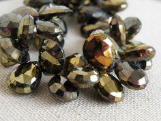 Mystic Spinel Briolette Gemstone Gold Grey by somsstudiosupplies