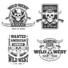 Set of vintage cowboy emblems by ART69M on Creative Market