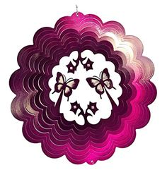 Double Butterfly Purple Wind Spinner, Metal Yard Art And Outdoor Décor, 12  Inch