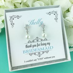 Earrings for Bridesmaid, Bridesmaid Earrings, pearl bridal earrings, Personalized Bridesmaid Gift, bridesmaid jewelry 468477119 by AllureWeddingJewelry on Etsy