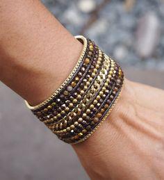 Brown mix Beaded Cuff Bracelet with Chain, Statement bracelet, beadwork bracelet Beaded Cuff Bracelet, Beaded Jewelry, Jewelry Bracelets, Black Peach, Layered Bracelets, Bracelet Tutorial, Bohemian Jewelry, Fashion Jewelry, Bead Patterns