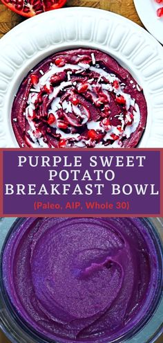 This AIP purple sweet potato bowl makes a great AIP friendly breakfast or nutrient-dense snack. It is Paleo/AIP, Whole30 compliant, gluten-free, dairy-free and vegan (just exclude the collagen). #sweetpotatobowl #smoothiebowl #purplesweetpotato #paleo #whole30 #aip #autoimmunepaleo #autoimmuneprotocol #grainfree #glutenfree #dairyfree Sweet Potato Smoothie, Sweet Potato Breakfast, Paleo Breakfast, Breakfast Bowls, Delicious Desserts, Dessert Recipes, Yummy Food, Purple Sweet Potatoes, Superfood Powder