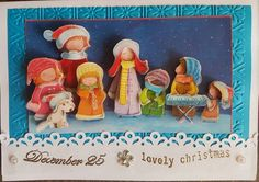 3D decoupage handmade embossed Christmas greeting card - lovely christmas, Christmas choir of children and а dog, singing in the snow by ArtDenia on Etsy