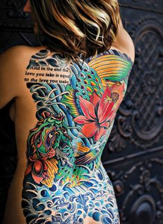 For Jenny Reitz, the koi fish and lotus flower turning into a dragon represents transformation.