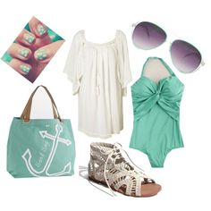 mint green and white beach outfit, very cute for summer