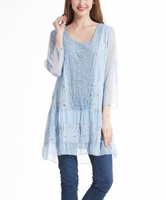 Look what I found on #zulily! Blue Textured Lace Tunic - Plus #zulilyfinds