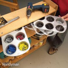 Photo: This inexpensive workshop storage solution is perfect for fasteners, electrical parts and small, miscellaneous doodads, and it takes up almost no space. More Ideas : Different and Creative IDEAS