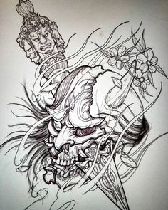 Phurba in hannya skull #drawing #sketch #sketchbookpro #hannya #phurba #asianink #tattoo #irezumi #asiantattoo #ipadpro #skull #illustration