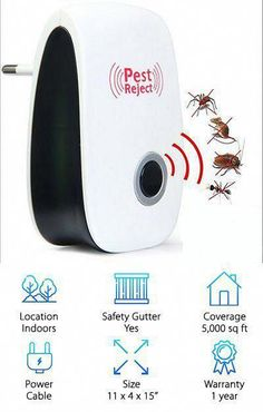 Ultrasonic Pest Repeller Home Pest Control Repellent Plug In Electronic Nontoxic Insects Rodents Reject For Mosquito Mo Pest Control Insect Control Pests