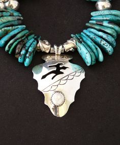 Hopi Sterling Silver Arrowhead Pendant with Graduated Turquoise Briolette and Sterling Beads & Findings