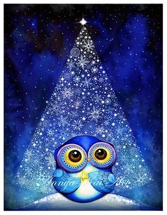 Wish Upon a Star Owl - Christmas Tree Snow Blue Bird Artwork - Fine Art Painting Print via Etsy Owl Christmas Tree, Blue Christmas, Christmas Time, Christmas Decor, Christmas Gifts, Illustration Mignonne, Owl Pictures, Bird Artwork, Owl Always Love You
