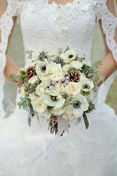 Winter Wedding Flowers Sola flowers Dusty miller and Winter