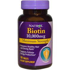 Natrol, Биотин, максимум действия, 10,000 мкг, 100 таблеток - iHerb.com