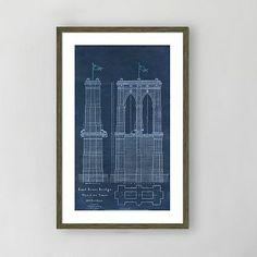 Nice framed blue print from Pottery Barn Framed Print - East River Bridge I #westelm